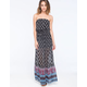 SOCIALITE Cinch Tiered Border Print Dress