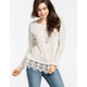 BLU PEPPER Crochet Hem Womens Sweater