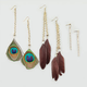 FULL TILT Rhinestone and Feather Earrings Trio