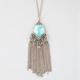 FULL TILT Turquoise Stone Fringe Necklace