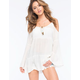 ALI & KRIS Cold Shoulder Womens Peasant Top
