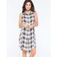 LIVING DOLL Plaid Womens Extreme Tunic
