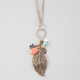 FULL TILT Leaf & Stones Charm Necklace