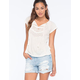 TAYLOR & SAGE Crochet Inset Womens Peasant Top