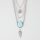 FULL TILT 3 Row Peace/Turquoise/Leaf Necklace