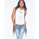 WOVEN HEART Crochet Trim Fringe Womens Vest