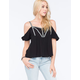 FULL TILT Decorative Tape Cold Shoulder Womens Top