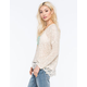 WOVEN HEARTS Lace Trim Womens Slub Sweater