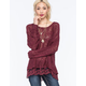 WOVEN HEARTS Lace Trim Womens Slub Sweater