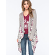 VANILLA STAR Mixed Stitch Fringe Womens Cardigan