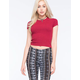 FULL TILT Sweater Knit Ribbed Womens Crop Tee