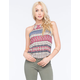 FULL TILT Hi Neck Linear Paisley Womens Tank