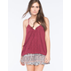 FULL TILT Lace Placket Womens Peasant Tank