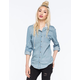 ALI & KRIS Washed Hooded Womens Chambray Shirt