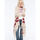 FULL TILT Border Print Womens Fringe Cardigan