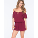 SOCIALITE Cold Shoulder Womens Peasant Romper