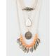 FULL TILT 4 Piece Leaf/Stone/Disc/Bead Necklace