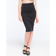 FULL TILT Solid Ribbed Midi Skirt