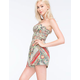 ANGIE Mitered Floral Womens Tube Romper