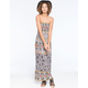 ANGIE Medallion Leaves Print Smocked Maxi Dress