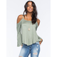LIVING DOLL Cold Shoulder Womens Peasant Top