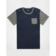 BLUE CROWN Color Block Mens Pocket Tee