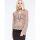FULL TILT Bell Sleeve Lace Womens Crop Top