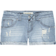 TRUE SOULMATE  Raw Edge Metro Stripe Womens Denim Shorts