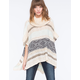 FULL TILT Striped Cowl Womens Poncho Sweater