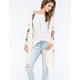 FULL TILT Hooded Pointelle Slub Womens Cardigan