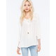 TAYLOR & SAGE Lace Yoke Womens Peasant Top