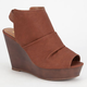 SODA Joesmo Scrunch Platform Peep Toe Wedge