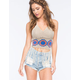 SAY WHAT Boho Crochet Womens Crop Halter Top