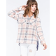 DEREK HEART Challis Back Womens Plaid Shirt