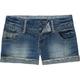 VANILLA STAR Railroad Stripe Hem Womens Denim Shorts