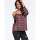 FULL TILT Crochet Cold Shoulder Womens Top