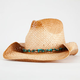 Straw Turquoise Bead Womens Cowboy Hat