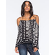 PATRONS OF PEACE Cold Shoulder Womens Blouse