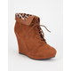 QUPID Val-09 Lace Up Womens Wedge