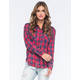 VANILLA STAR Plaid Acid Wash Womens Shirt