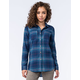 FULL TILT Blue Womens Boyfriend Flannel Shirt