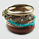 FULL TILT 8 Piece Wood/Turquoise/Mesh/Brass Bangles