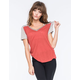 FULL TILT Essential Contrast Womens V-Neck Tee