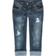 ALMOST FAMOUS Stud Button Womens Denim Crop Jeans