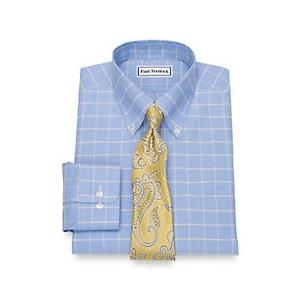 4694efedcb76 Non-Iron Cotton Broadcloth Glen Plaid Dress Shirt   Paul Fredrick