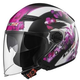 LS2 Track Floral Open Face Motorcycle Helmet with Sunshield