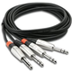 "Hosa HSS-003X2 3 Foot Dual 1/4"" TRS to Dual 1/4"" TRS Cable"