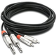 Pro 3Ft Dual 1/4 TS (M) To Dual RCA (M)