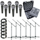 Shure 6 X SM48S Mic Pack W/Stands Cables Case    +