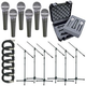 Shure 6 X SM58 Mic Pack W/Stands Cables Case     +